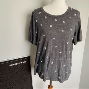 Talbots Gray Beaded Floral Short Sleeve Sweater